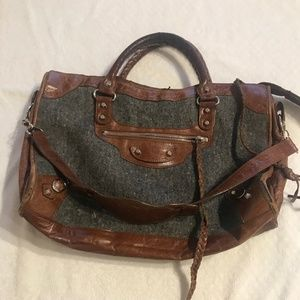 BALENCIAGA City Bag - Flannel & Brown Leather
